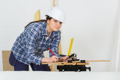 Portrait young female carpenter Stock Photos