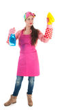 Portrait young female cleaner Royalty Free Stock Images