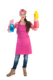Portrait young female cleaner Stock Images