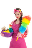 Portrait young female cleaner Royalty Free Stock Photos