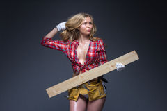 Portrait of young female construction carpenter Royalty Free Stock Photography