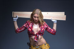 Portrait of young female construction carpenter Royalty Free Stock Image