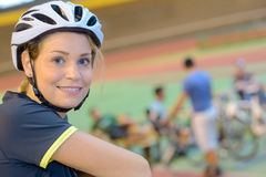 Portrait young female cyclist Royalty Free Stock Photography