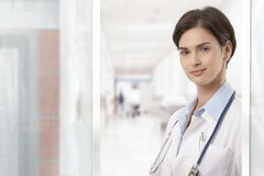 Portrait of young female doctor Stock Photos