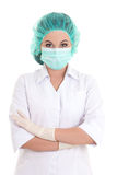 Portrait of young female doctor over white Stock Images