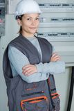 Portrait young female electrician. Portrait of young female electrician Royalty Free Stock Image