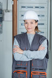 Portrait young female electrician. Portrait of young female electrician Royalty Free Stock Images