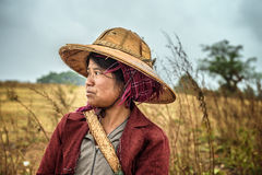 Portrait of a young female farmer working in a field Royalty Free Stock Photo