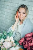 Woman Florist Small Business Flower Shop Owner stock photo