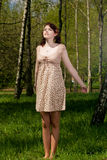Portrait of young female in forest- Outdoor Royalty Free Stock Photo