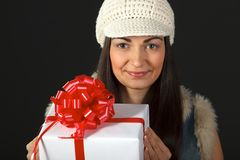 Portrait of young female with gift box Royalty Free Stock Images