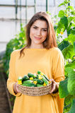 Portrait of young female greenhouse worker Stock Image