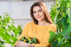 Portrait of young female greenhouse worker Royalty Free Stock Images