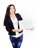 Portrait of  young female holding a paper Stock Image