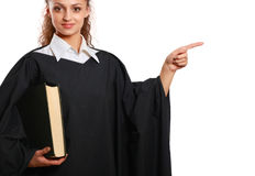 Portrait of a young female judge, isolated on white background Royalty Free Stock Photos