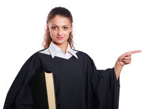 Portrait of a young female judge, isolated on white background Stock Photography