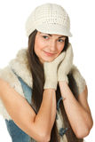 Portrait of young female in the knitted cap Royalty Free Stock Image