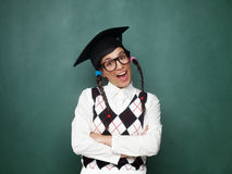 Portrait of young female nerd Stock Image