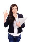 Portrait of  young female with papers Stock Photos