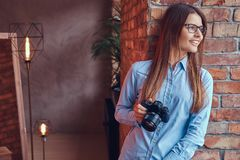 Portrait of a charming brunette in a studio. Royalty Free Stock Photos