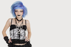 Portrait of young female punk with dyed hair over gray background Stock Photos