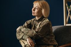 Portrait of young female soldier stock photos