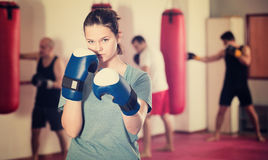 Portrait of young female sportswear training stock images