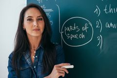 Portrait of young female teacher against chalkboard in class stock photography