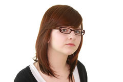 Portrait of young female teenager in glasses. Portrait of young beautiful female teenager in glasses isolated on white background Stock Photography