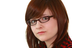 Portrait of young female teenager in glasses. Portrait of young beautiful female teenager in glasses isolated on white background Stock Photos