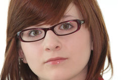 Portrait of young female teenager in glasses Stock Image