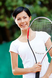 Portrait of young female tennis player Stock Images