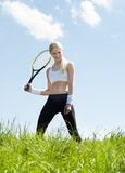 Portrait Of Young Female Tennis Player Stock Photography
