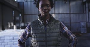 Portrait of young female warehouse worker 4k stock video footage