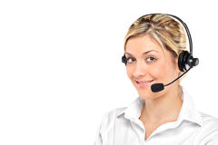 Portrait of a young female wearing a headset Stock Photo