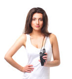 Portrait of a young brunette with a jumping rope Royalty Free Stock Image