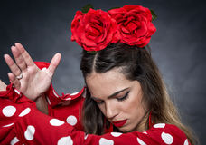 Portrait of young Flamenco dancer in beautiful dress Royalty Free Stock Image