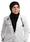 Portrait of young friendly beautiful muslim female doctor smiling Stock Images