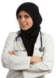 Portrait of young friendly beautiful muslim female doctor smiling Stock Photos