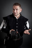 Portrait of a young friendly medieval nobleman Stock Photography