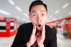 Businessman Shocked with Mouth Open Stock Photo
