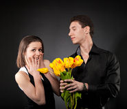 Portrait of a young funny couple in love Stock Images