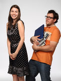 Portrait of a young funny couple in studio Stock Photo