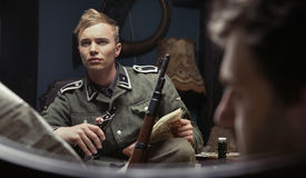 Portrait of the young german soldier Royalty Free Stock Image