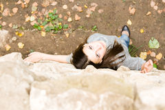 Portrait Of A Young Girl. Portrait Of A Young Brunette Girl royalty free stock photography