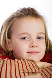 Portrait of a young girl 5. Daydreaming kid isolated on white Royalty Free Stock Photo