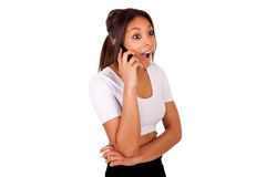 Portrait Of Young Girl african Talking On phone Stock Image