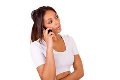 Portrait Of Young Girl african Talking On phone Royalty Free Stock Images