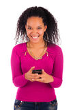 Portrait Of Young Girl african Talking On phone Royalty Free Stock Image