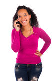 Portrait Of Young Girl african Talking On phone Royalty Free Stock Photo